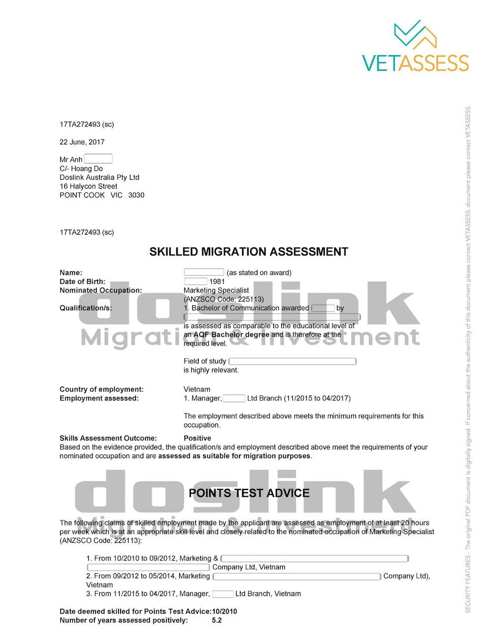 , Visa 489 – Định cư Úc diện Tay Nghề (Skill)   Mr An – Marketing Specialist, Doslink Migration & Investment, Doslink Migration & Investment
