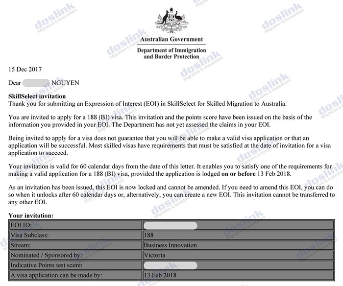 Invitation Visa 188a Dinh cu Uc Mrs A.Nguyen (Melbourne, VIC)