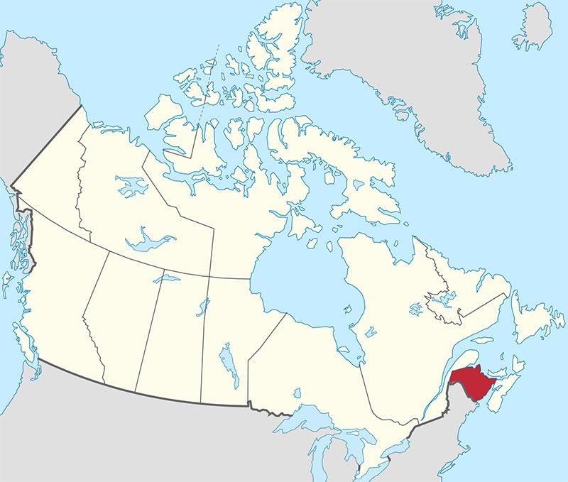 Bản đồ New Brunswick   Định cư Canada (Doslink Migration)