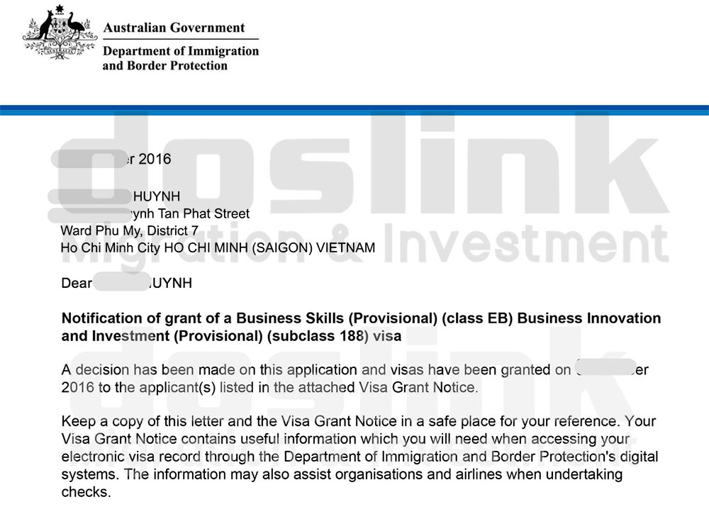 , Visa 188B – Định cư Úc diện Đầu Tư Trái Phiếu | Mr. Huỳnh – HCM, Doslink Migration & Investment