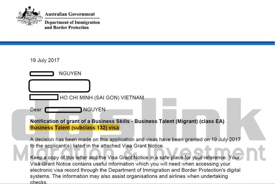 , Visa 132A – Định cư Úc diện Doanh Nhân Tài Năng | Mr. Nguyễn – HCM, Doslink Migration & Investment