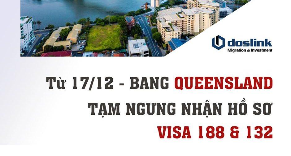 bang Queensland tạm ngưng nhận hồ sơ visa 188 & 132
