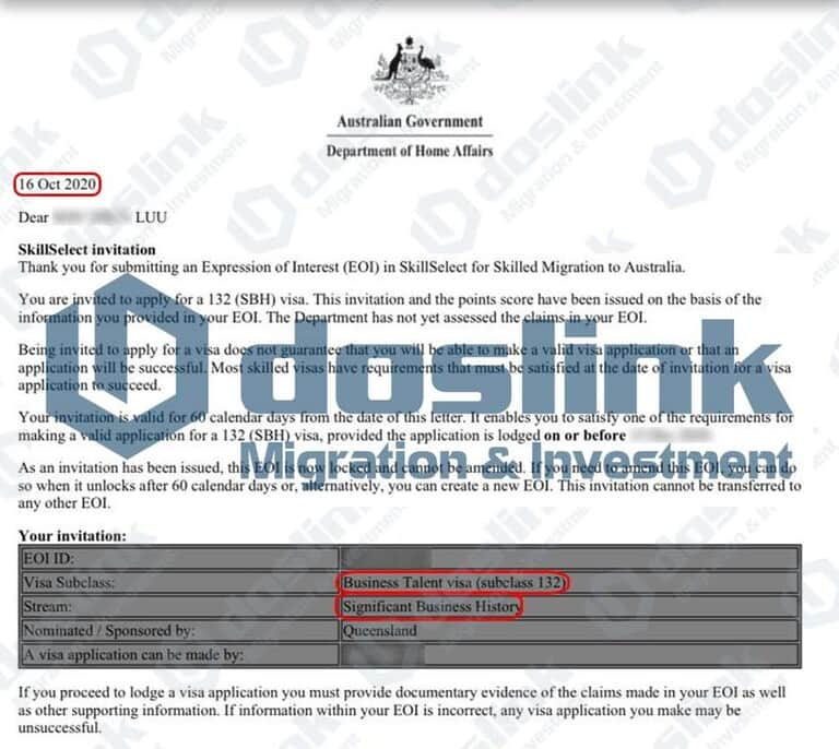 Bảo lãnh Bang Queensland – Visa 132A Doanh Nhân Tài Năng, Mr Luu … 16/10/2020