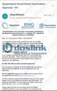 Bảo lãnh Bang Queensland – Visa 132A Doanh Nhân Tài Năng, Mrs Tran … 15/10/2020