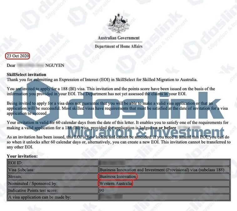 Bảo lãnh Bang Tây Úc – Visa 188A Doanh Nhân Sáng Tạo, KH Nguyễn … 23/10/2020