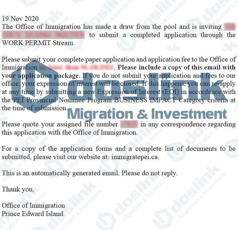 ITA (Invitation to Apply) của Tỉnh Bang Đảo Hoàng Tử, KH Thuy Duong tháng 12/2020