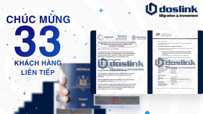 Chúc mừng 33 khách hàng liên tiếp nhận bảo lãnh Bang và Visa Grant 188A 188B 132A