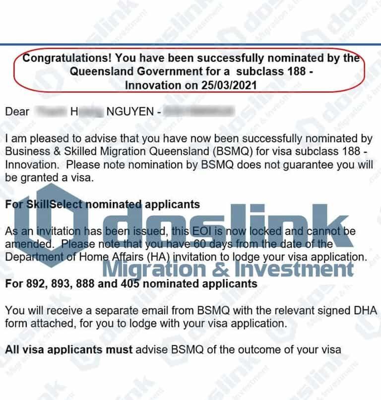 Bảo lãnh Bang Queensland Visa 188A ngày 25.03.2021