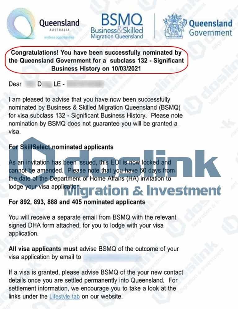 Bảo Lãnh Bang Queensland - Visa 132A ngày 10/03/2021