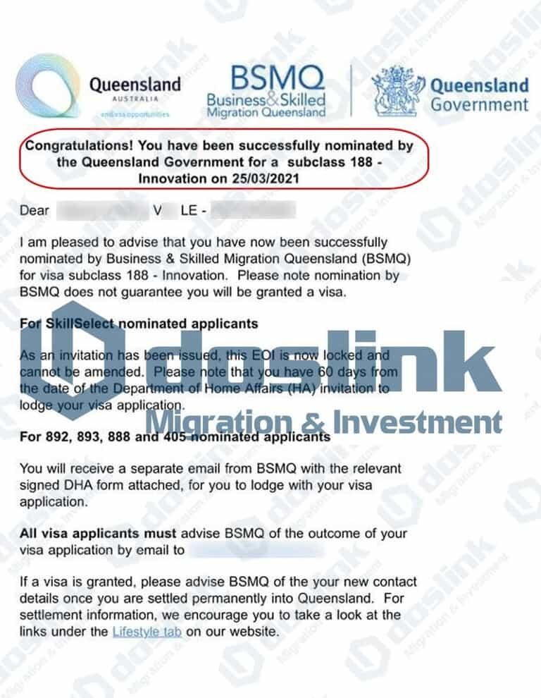 Bảo Lãnh Bang QueensLand - Visa 188A KH V Lê ngày 25.03.2021