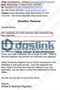 Kết quả visa 132A Nam Úc ngày 17/03/2021