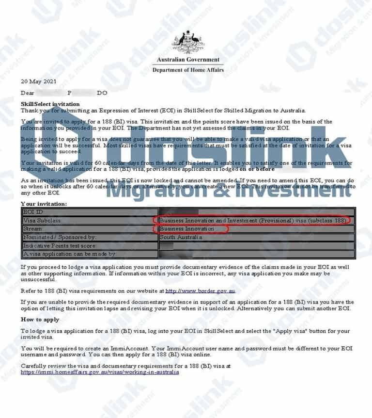 Bảo Lanh Bang Nam Úc Visa 188A ngày 20 05 2021