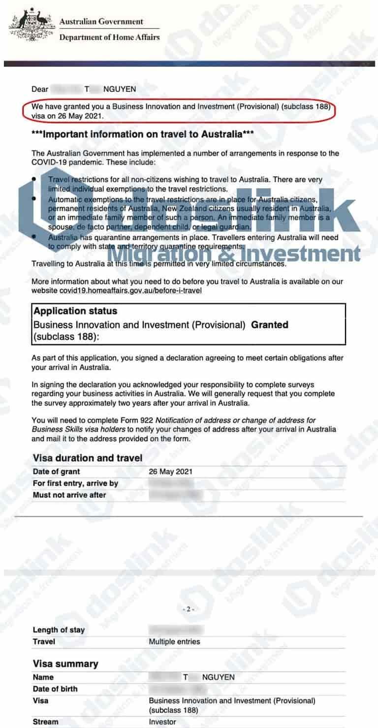 Kết quả Visa 188B Đầu Tư Trái Phiếu Úc 26/05/2021