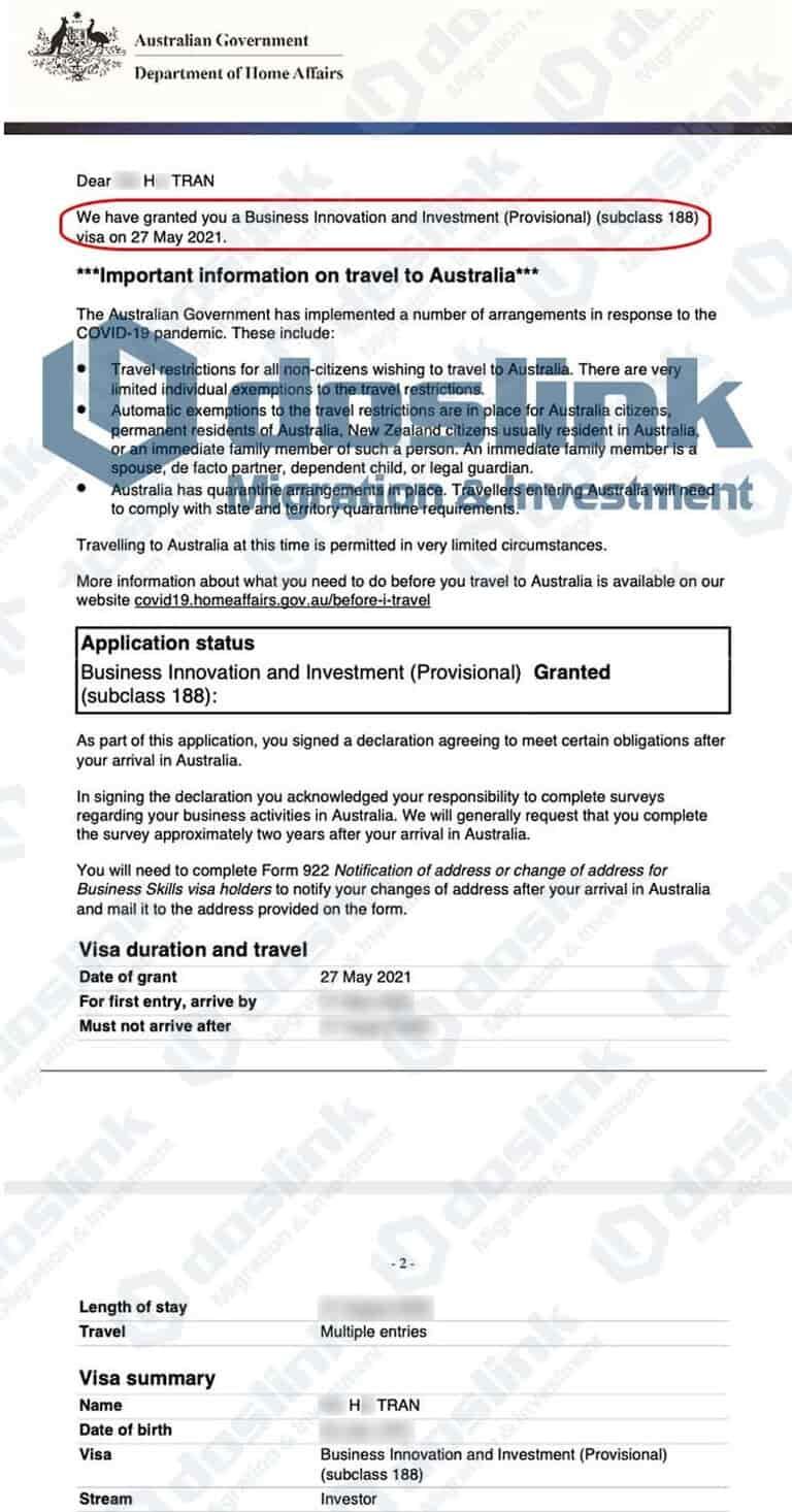 Kết quả visa 188B bang Tây Úc ngày 27/05/2021