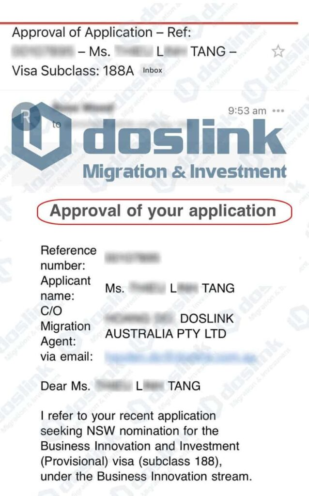 Bảo Lãnh Bang NSW visa 188A ngày 11/06/2021