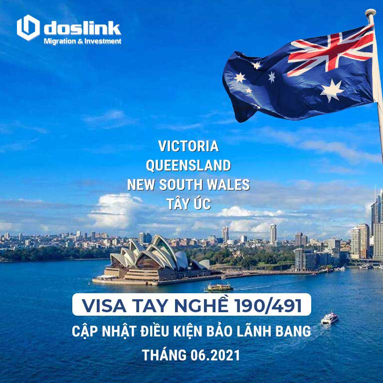 Cập nhật chính sách visa tay nghề 190/491 tháng 06/2021 - Điều kiện bảo lãnh bang Victoria, Queensland, New South Wales và Tây Úc